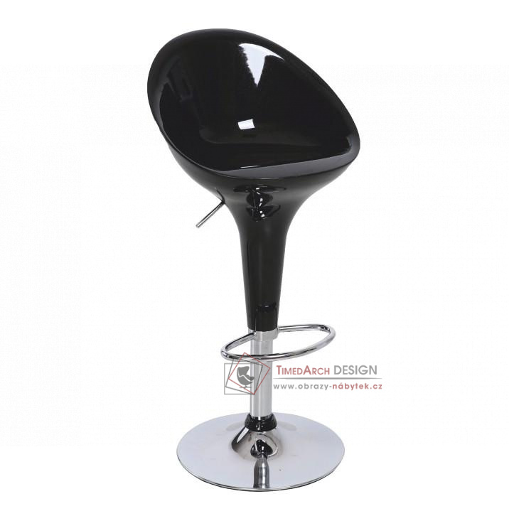 Barová židle ALBA chrom / plast černý