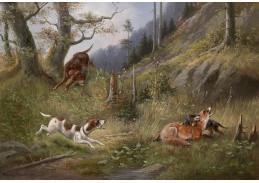 Slavné obrazy VIII-165 Moritz Müller - Na lovu lišky