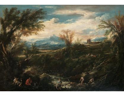 Slavné obrazy XVI-221 Antonio Francesco Peruzzini - Krajina s pradlenami