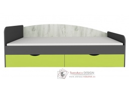 DISNEY, postel 90x200cm, dub kraft bílý / šedý grafit / limeta