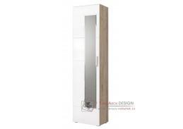 LAIN, šatní skříň se zrcadlem, dub kraft šedý / bílý lesk