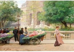 Slavné obrazy IX 79 Victor Gabriel Gilbert - Květinářky na náměstí
