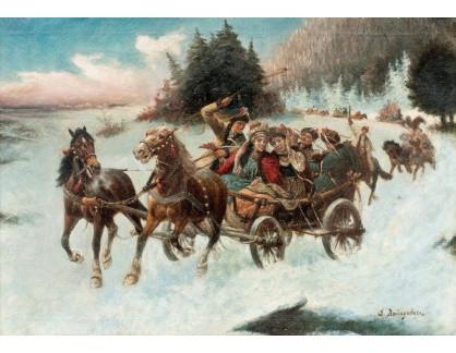 Slavné obrazy XIV-508 Adolf Baumgartner - Zimní výlet