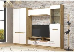 ARTEMIS, obývací sestava nábytku SET2 - pravá, dub kraft zlatý / bílá