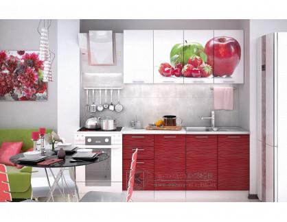 VALERIA ART, kuchyně 160cm, bílá / červený lesk / Aple