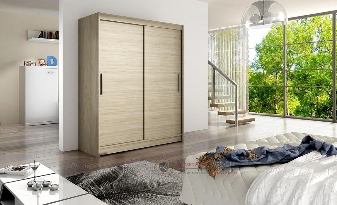 Šatní skříň s posuvnými dveřmi 150cm WESTA I dub sonoma