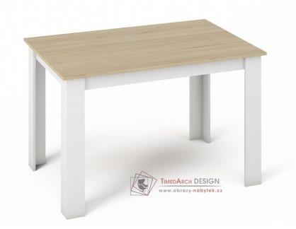 KONGO 120, jídelní stůl, bílá / dub sonoma