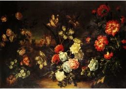 Krásné obrazy IV-107 Jean-Baptiste Monnoyer - Zátiší s květinami