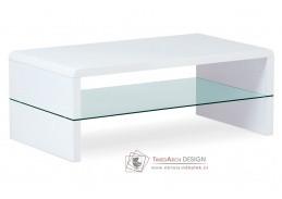 AHG-402 WT, konferenční stolek, vysoký lesk bílý / čiré sklo