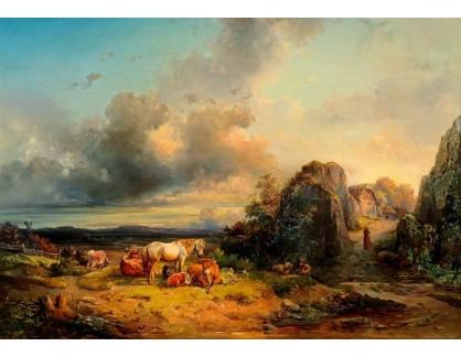 Slavné obrazy III-DDSO-554 Edmund Mahlknecht - Stádo zvířat a postavy v otevřené krajině