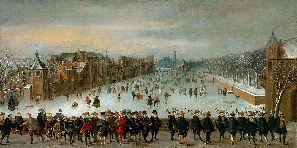 Obraz panorama DDSO-2425 Adam van Breen - Zimní pohled na Vijverberg v Haagu v popředí princ Maurits a jeho družina