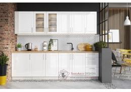 FARLEY, kuchyně 260cm, šedá / bílý lesk