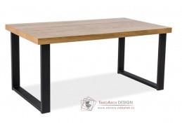 UMBERTO, jídelní stůl 120x80cm, černá / MDF dub