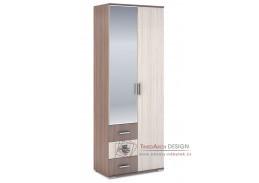 ROCHEL, šatní skříň 2-dveřová 80/45cm, jasan šimo tmavý / jasan šimo světlý