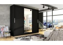 Šatní skříň s posuvnými dveřmi 250cm ASTON I černá / zrcadlo