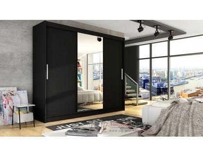 ASTON I, šatní skříň s posuvnými dveřmi 250cm, černá / zrcadlo