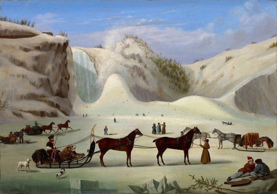 Slavné obrazy XIV-70 Robert Todd Clow - Na ledu v Montmorency Falls