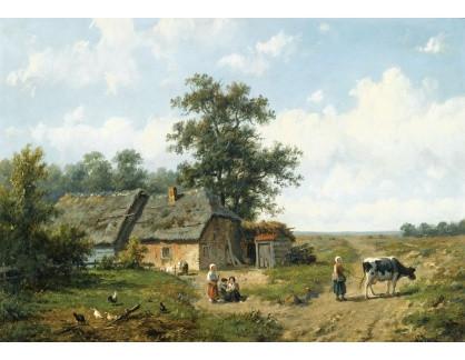 Slavné obrazy XVI-186 Anthonie Jacobus van Wijngaerdt - Postavy u chalupy ve slunečný den