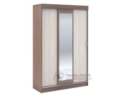 BASIA, šatní skříň se zrcadlem 130cm 3D WK-551, jasan šimo tmavý / jasan šimo světlý