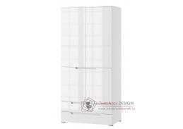 SELENE 28, šatní skříň 2-dveřová se zásuvkami 100cm, bílá / bílý lesk