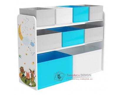 DARLING 2, organizér - regál na hračky, vícebarevná / vzor