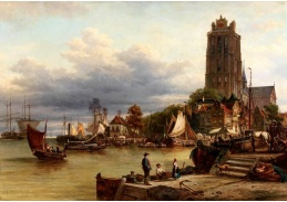D-9339 Elias Pieter van Bommel - Pohled na město a přístav v Dordrechtu