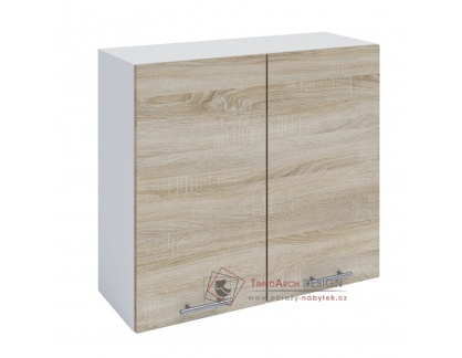 FABIANA, horní skříňka 2-dveřová W-80, bílá / dub sonoma