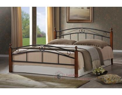 CRETA, kovová postel 180x200cm, černá / třešeň