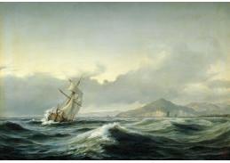 Slavné obrazy XIII-467 Anton Melbye - Plachetnice na rozbouřeném moři