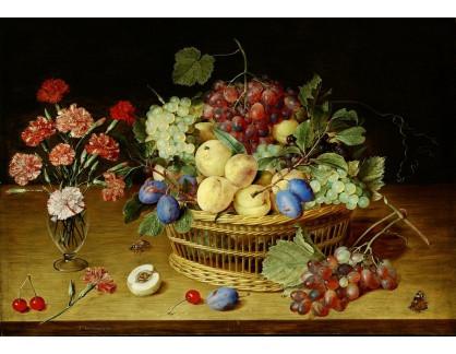 Krásné obrazy IV-5 Jacob van Hulsdonck - Zátiší s vázou karafiátů a košík s broskvemi