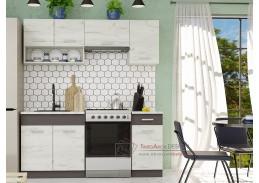 MORENO III, kuchyně 180cm, dub kraft bílý / grafit