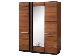 PORTI P-73, šatní skříň 165cm, antický dub / černé sklo / zrcadlo