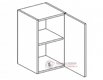 PREMIUM de LUX, horní skříňka 1-dvéřová W50P - pravá, hruška