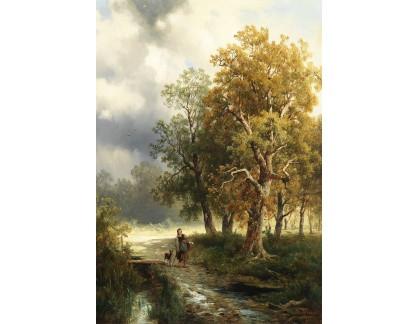 Krásné obrazy II-246 Josef Thoma - Dívka s kozou na lesní cestě