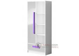 GULLIWER 03, kombinovaná skříň, bílá / bílý lesk / fialová