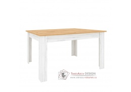 SUDBURY S, jídelní stůl rozkládací, dub craft zlatý / dub craft bílý