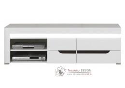 IRMA IM02, televizní stolek s LED osvětlením, bílá / vysoký lesk bílý