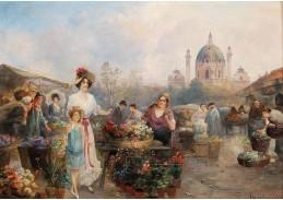 D-6611 Emil Barbarini - Květinový trh před Karlskirche ve Vídni