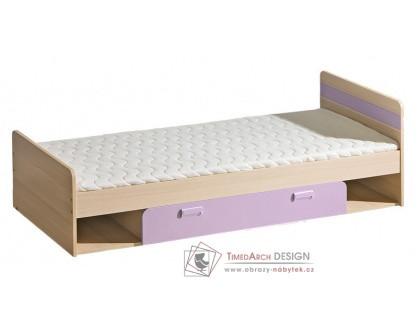 LIMO L13, postel s ÚP 80x195cm, jasan coimbra / fialová