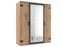 LOMAZA 568, šatní skříň 4D 180cm, dubové prkna / šedá grafit