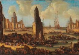 D-5999 Pieter Casteels - Přístav s četnými loděmi