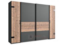 LIPTON 788, šatní skříň 4-dveřová 272cm, stříbrná jedle / šedá grafit