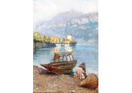 Slavné obrazy I-DDSO-107 Felix Possart - Pradlena u jezera Como