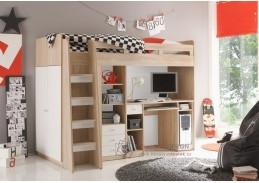Poschoďová postel multifunkční JUNIT dub sonoma / bílá