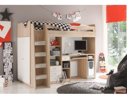 JUNIT, poschoďová postel multifunkční, dub sonoma / bílá