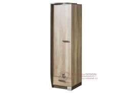 ROMERO R17, šatní skříň 1-dveřová se zásuvkou - levá, arusha / dub canyon