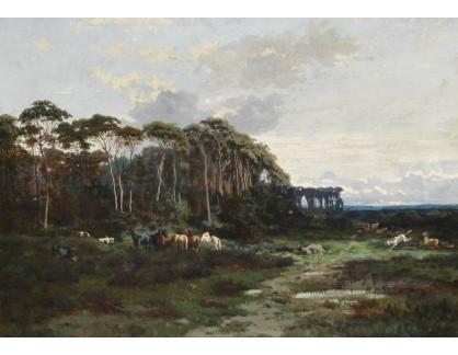 Slavné obrazy XVI-99 Alexandre Ségé - Koně v lesnaté krajině