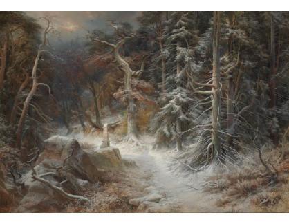 Slavné obrazy XVI-357 Carl Friedrich Wilhelm Trautschold - Zimní les v hlubokém sněhu