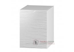 NARAN, dolní koupelnová skříňka D40P - pravá, bílá / bílý lesk vzor