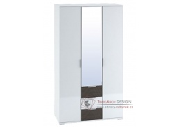 TERRA, šatní skříň 3-dveřová 120cm, bílá / wenge / bílý lesk
